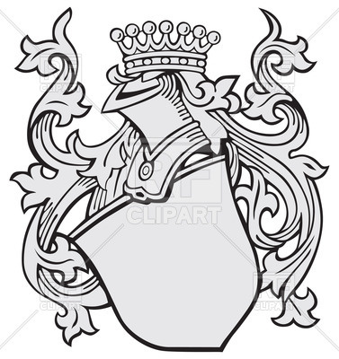 377x400 Shield With Decorations And Knightly Helmet In Crown