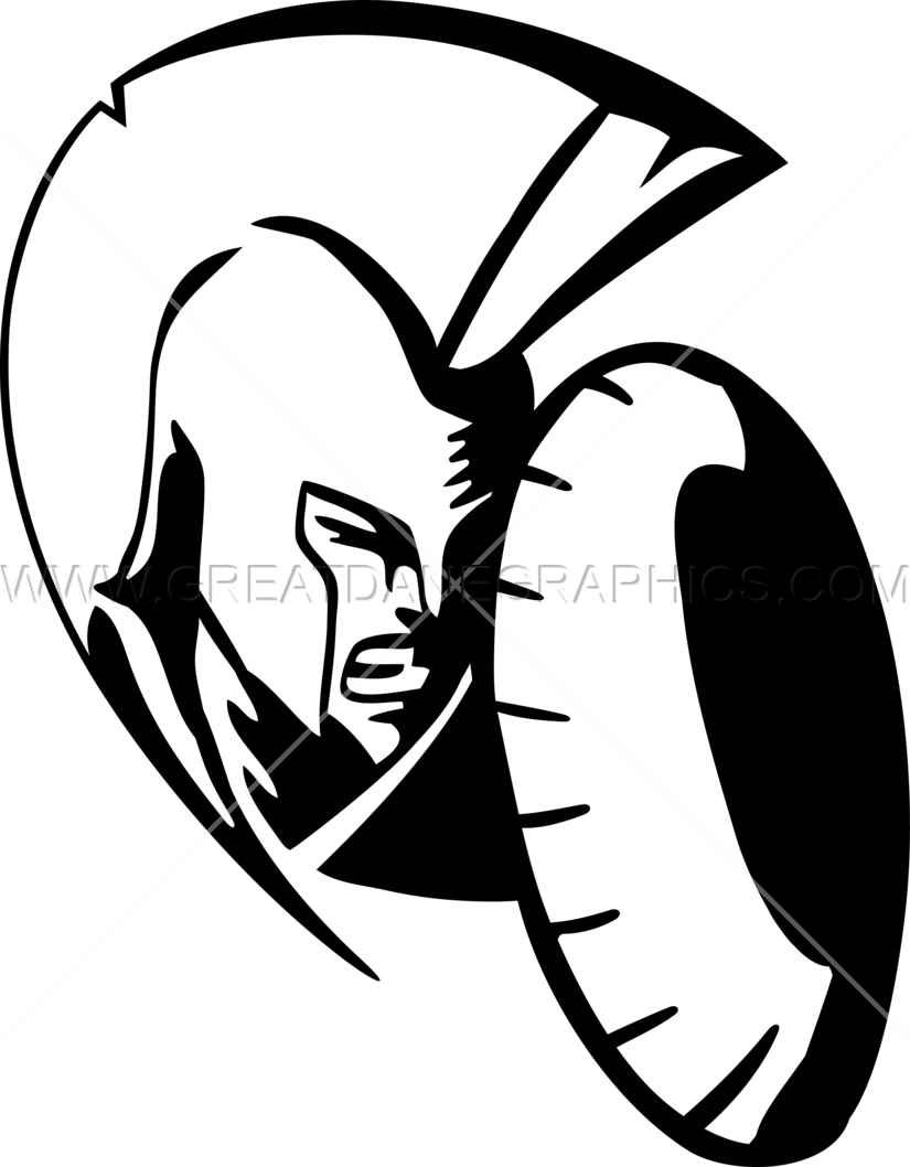 825x1058 Spartan Head With Shield Production Ready Artwork For T Shirt