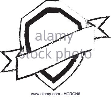 364x320 Shield Premium Badge Ribbon Sketch Vector Illustration Eps 10