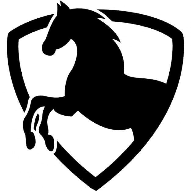 626x626 Black Horse Part In A Shield Outline Icons Free Download