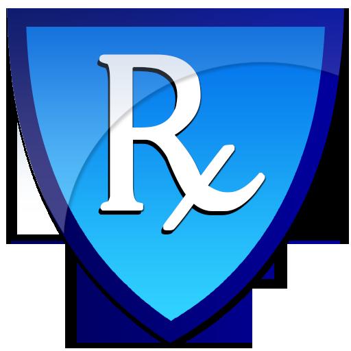512x512 Rx Blue Shield Clipart Image