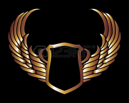 450x359 Metalic Gold Wings And Shield Vector Art Royalty Free Cliparts