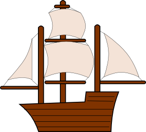 300x271 Unfurled Sailing Ship Clip Art