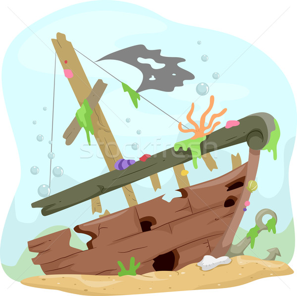 600x599 Underwater Shipwreck Vector Illustration Lenm ( 2572411