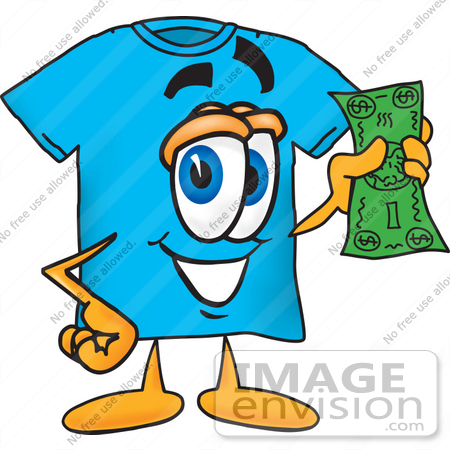 450x450 Clip Art Graphic Of A Blue Short Sleeved T Shirt Character Holding