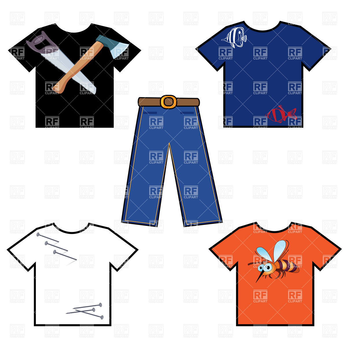 1200x1200 Simple T Shirt And Pants Royalty Free Vector Clip Art Image