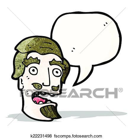 450x470 Clip Art of cartoon shocked man with goatee beard k22231498