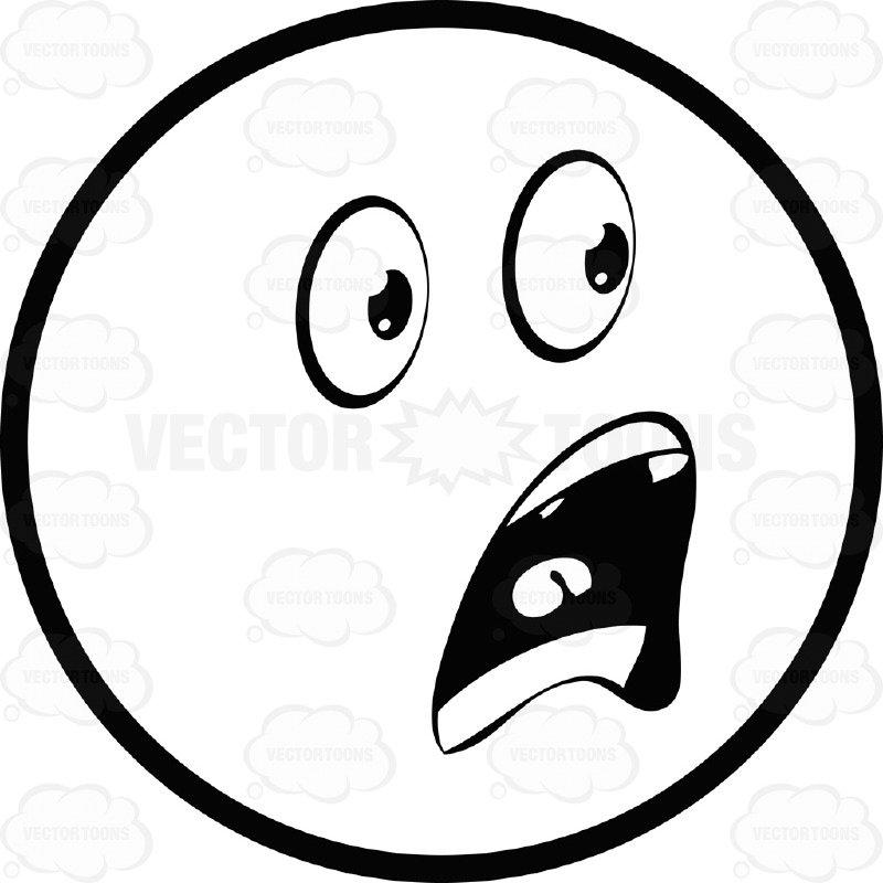 800x800 Shocked, Frightened Large Eyed Black And White Smiley Face