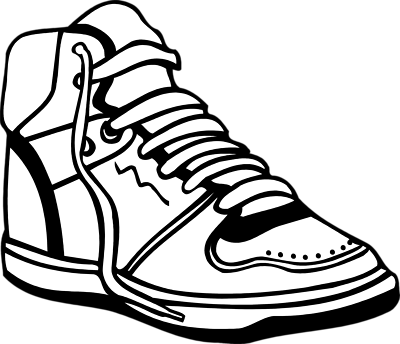 400x344 Sneaker tennis shoes clipart black and white free