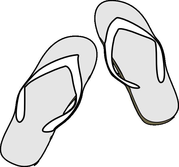 600x559 Flip Flops Black White Clip Art