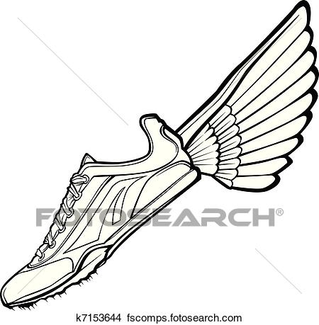 450x459 Clipart Of Track Shoe With Wing Vector Illustr K7153644