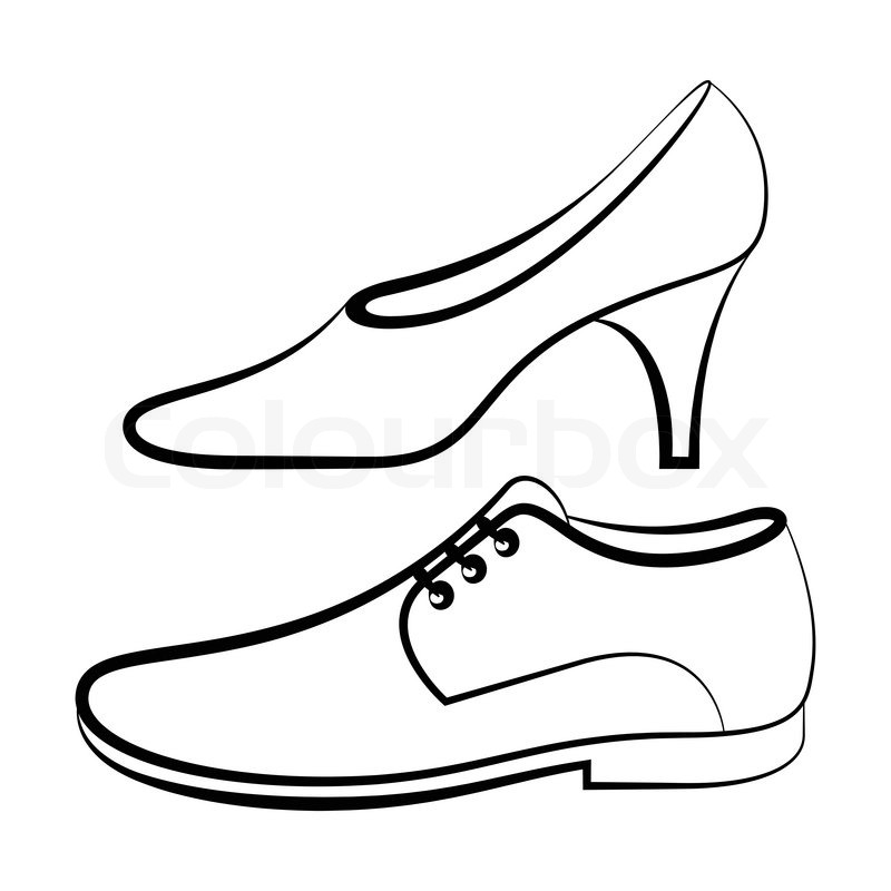 800x800 Women's And Men's Shoe Isolated On White Background Stock Vector
