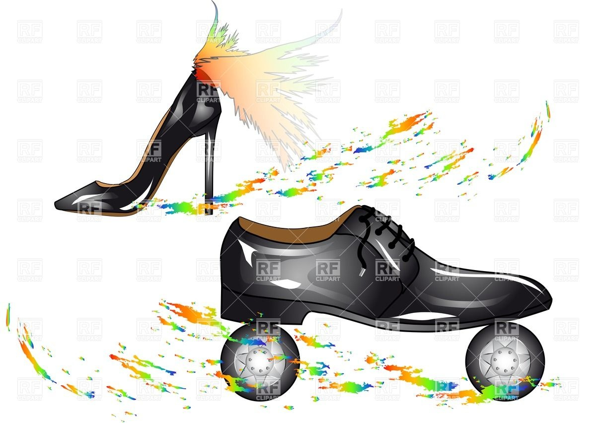 1200x852 Humorous Fashion Shoes With Wings And On Wheels Royalty Free