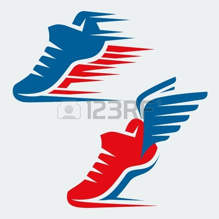 450x450 Shoes Logo With Wing In View Letter F, Mockup Emblem Winged