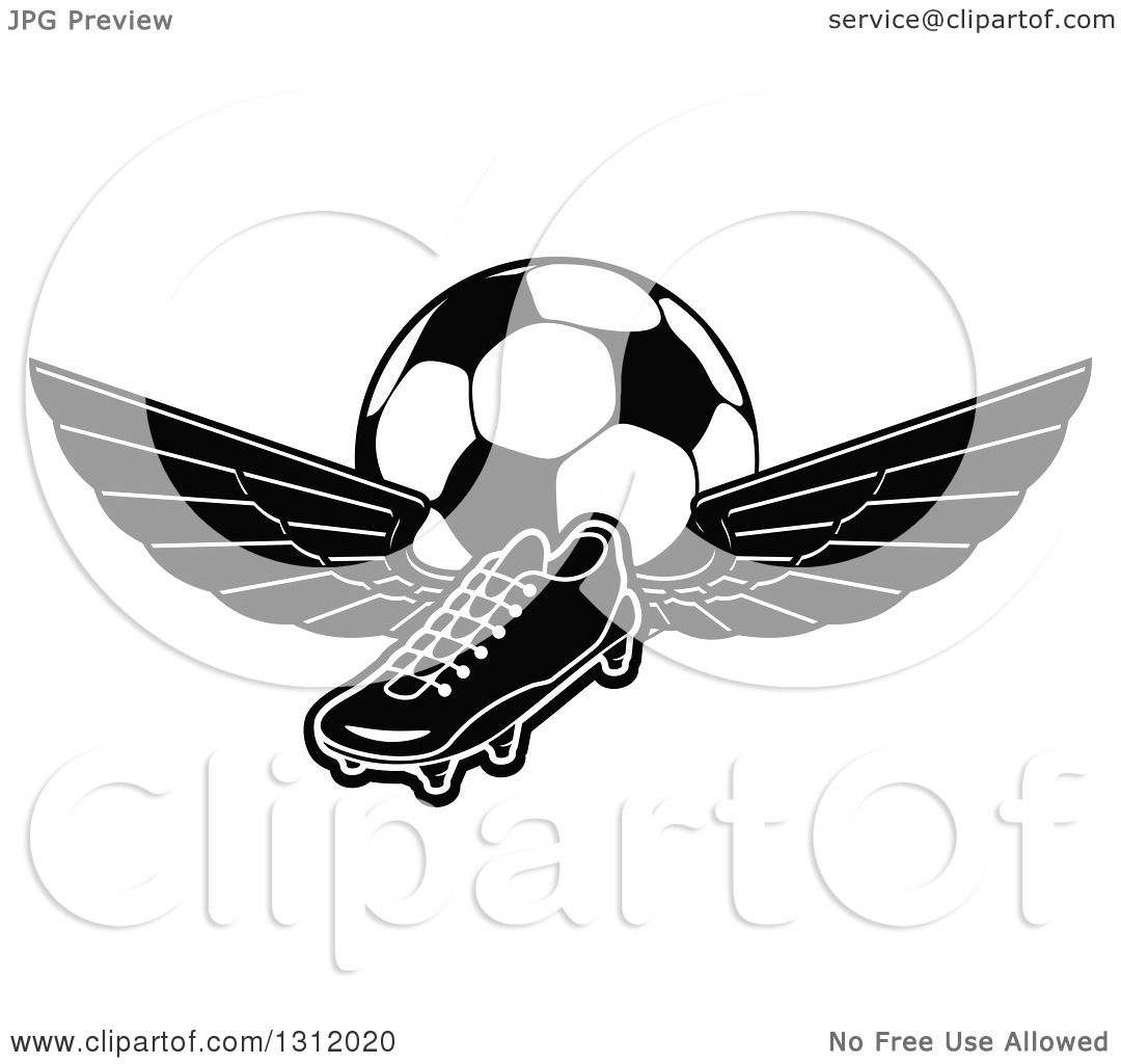 1080x1024 Clipart Of Blacknd White Soccer Cleat Shoe With Wingsnd