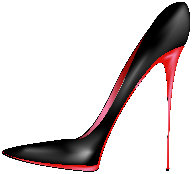 6000x5446 Black Red High Heels PNG Clip Art