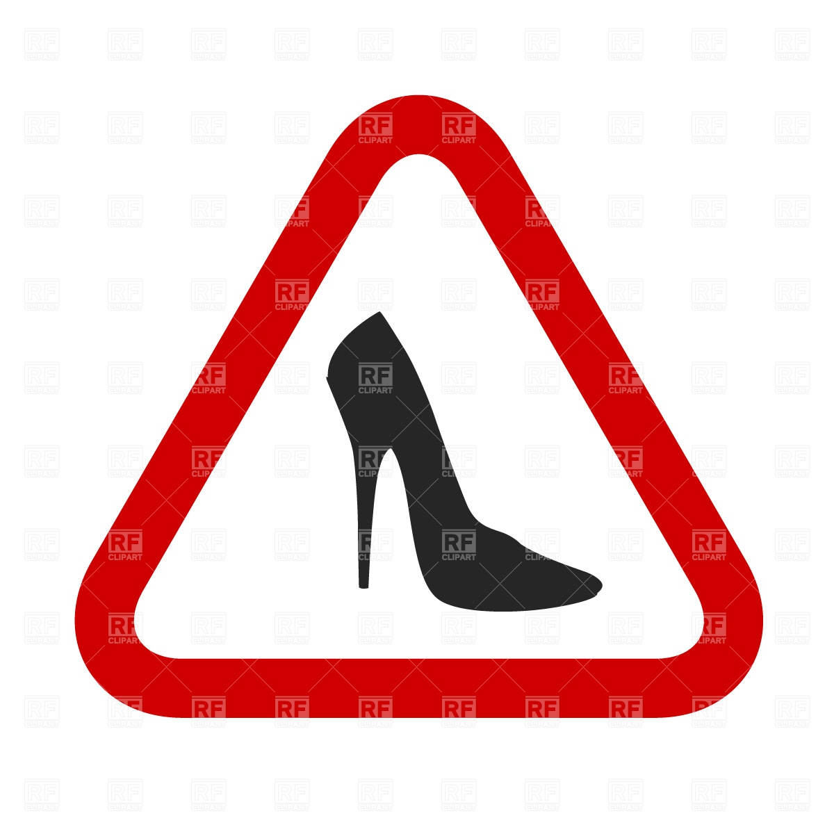 1200x1200 Caution, Woman! High Heels Shoes Sign Free Vector Clip Art Image