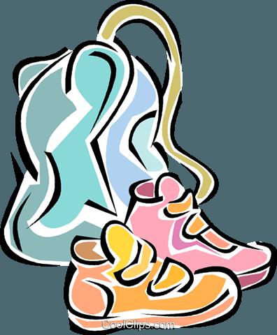 396x480 Running Shoes, School Bag Royalty Free Vector Clip Art
