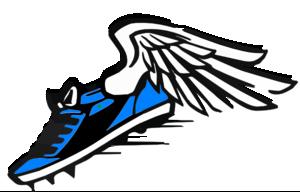 300x192 Track Shoe Blue Winged Shoe Clip Art