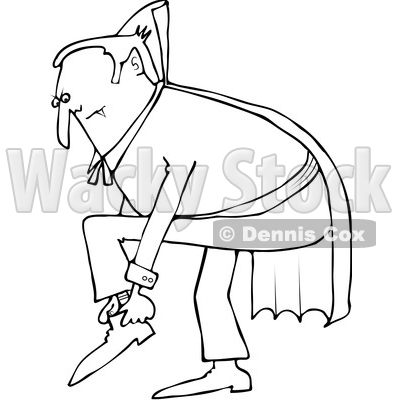 400x400 Clipart Of A Cartoon Black And White Chubby Dracula Vampire