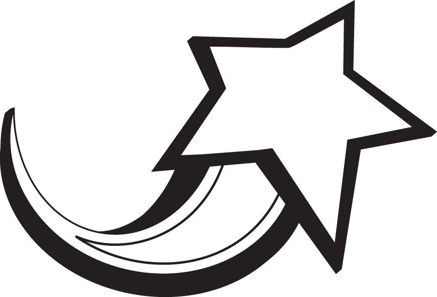 870x592 Shooting Star Clip Art Black And White Free 6