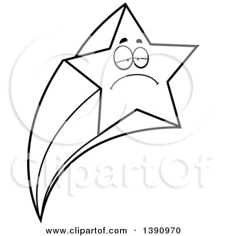450x470 Clipart Of A Cartoon Black And White Lineart Sick Shooting Star