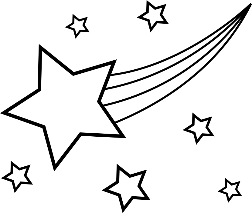 830x703 Drawn Shooting Star Black And White
