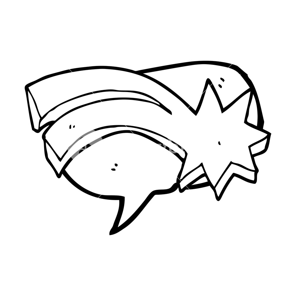 1000x1000 Freehand Drawn Speech Bubble Cartoon Decorative Shooting Star