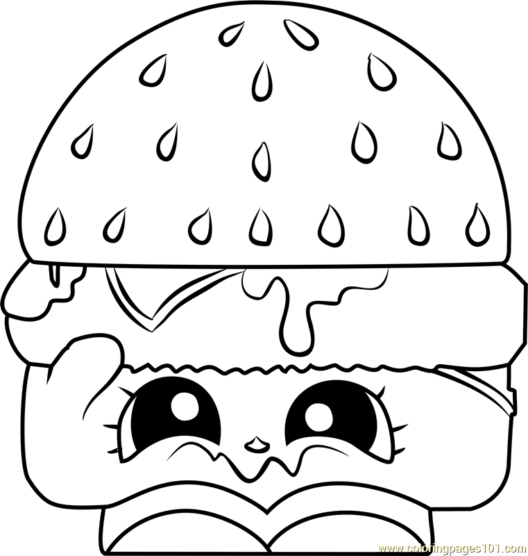 761x800 Cheezey B Shopkins Coloring Page