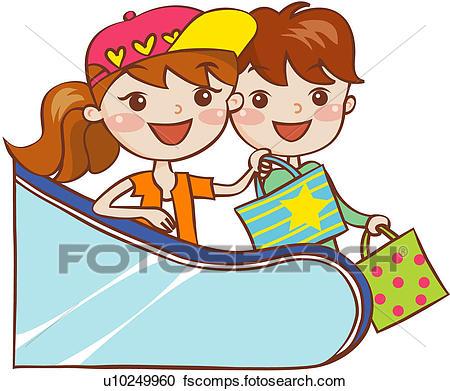 450x391 Clipart Of Shopping Bag, Bag, Lifestyle, Two Men, Escalator