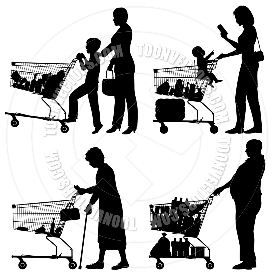 940x940 Supermarket Shoppers By Tawng Toon Vectors Eps