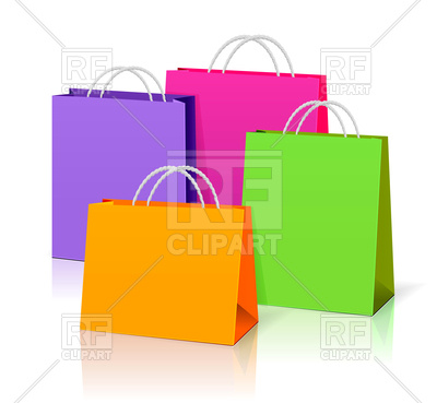 400x369 Colorful Paper Shopping Bags Royalty Free Vector Clip Art Image
