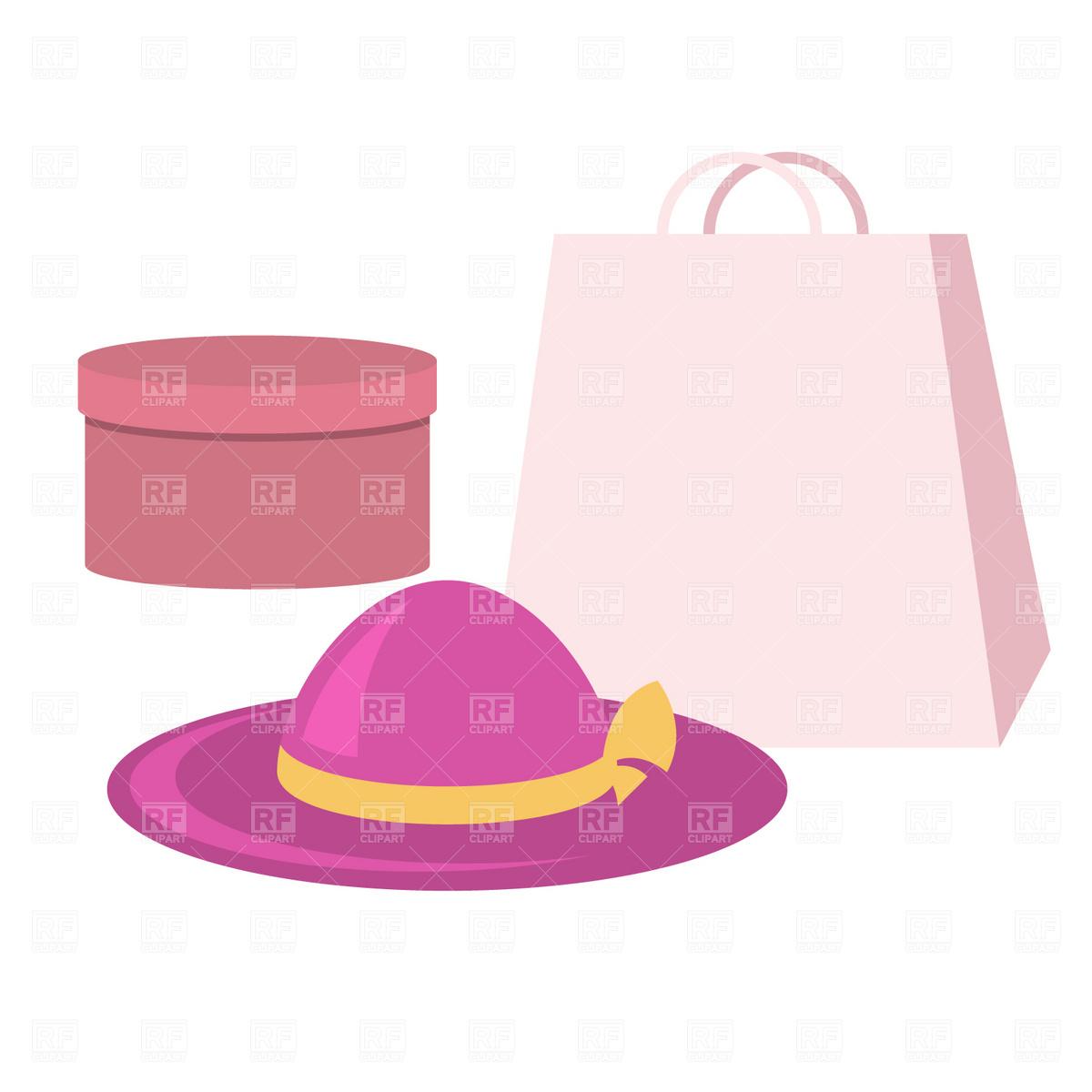 1200x1200 Shopping Bag, Bonnet And Hatbox Royalty Free Vector Clip Art Image