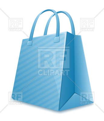 344x400 Blue Striped Shopping Bag Royalty Free Vector Clip Art Image