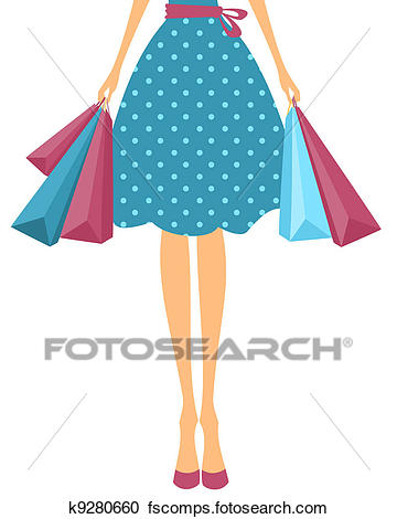 360x470 Clipart Of Girl With Shopping Bags K9280660