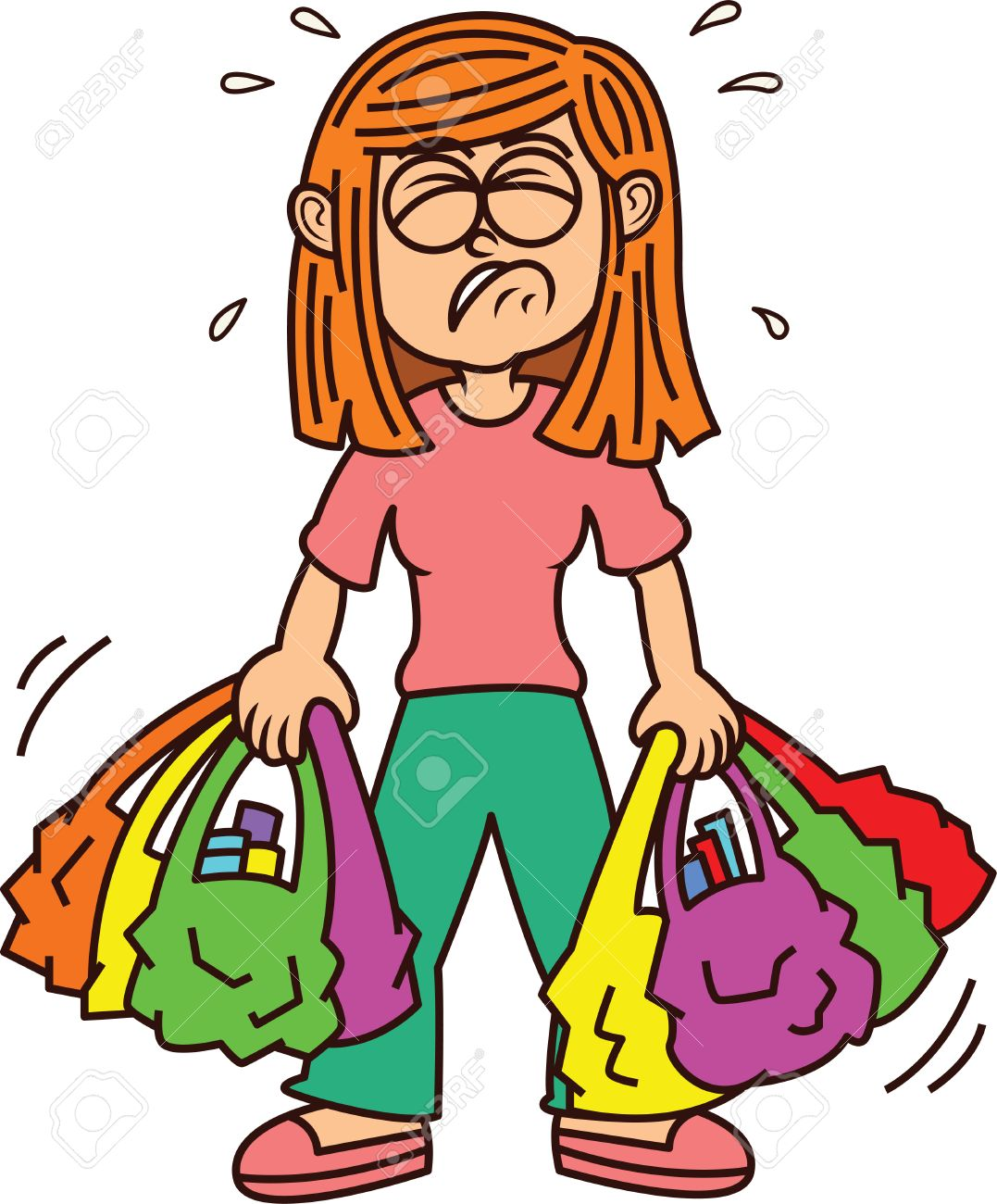 1077x1300 Girl Carrying Heavy Shopping Bags Royalty Free Cliparts, Vectors