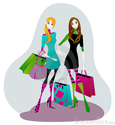 400x435 Girl With Shopping Bags Clipart