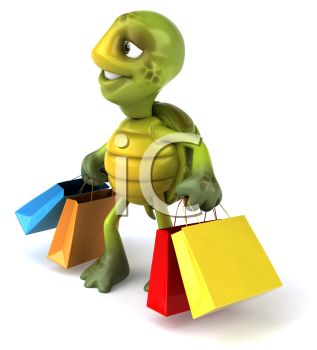 317x350 Picture Of Cartoon Turtle Carrying Colorful Shopping Bags In