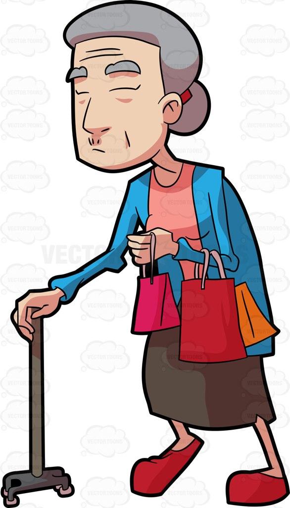 586x1024 A Grandma Walking With Her Shopping Bags Cartoon Clipart