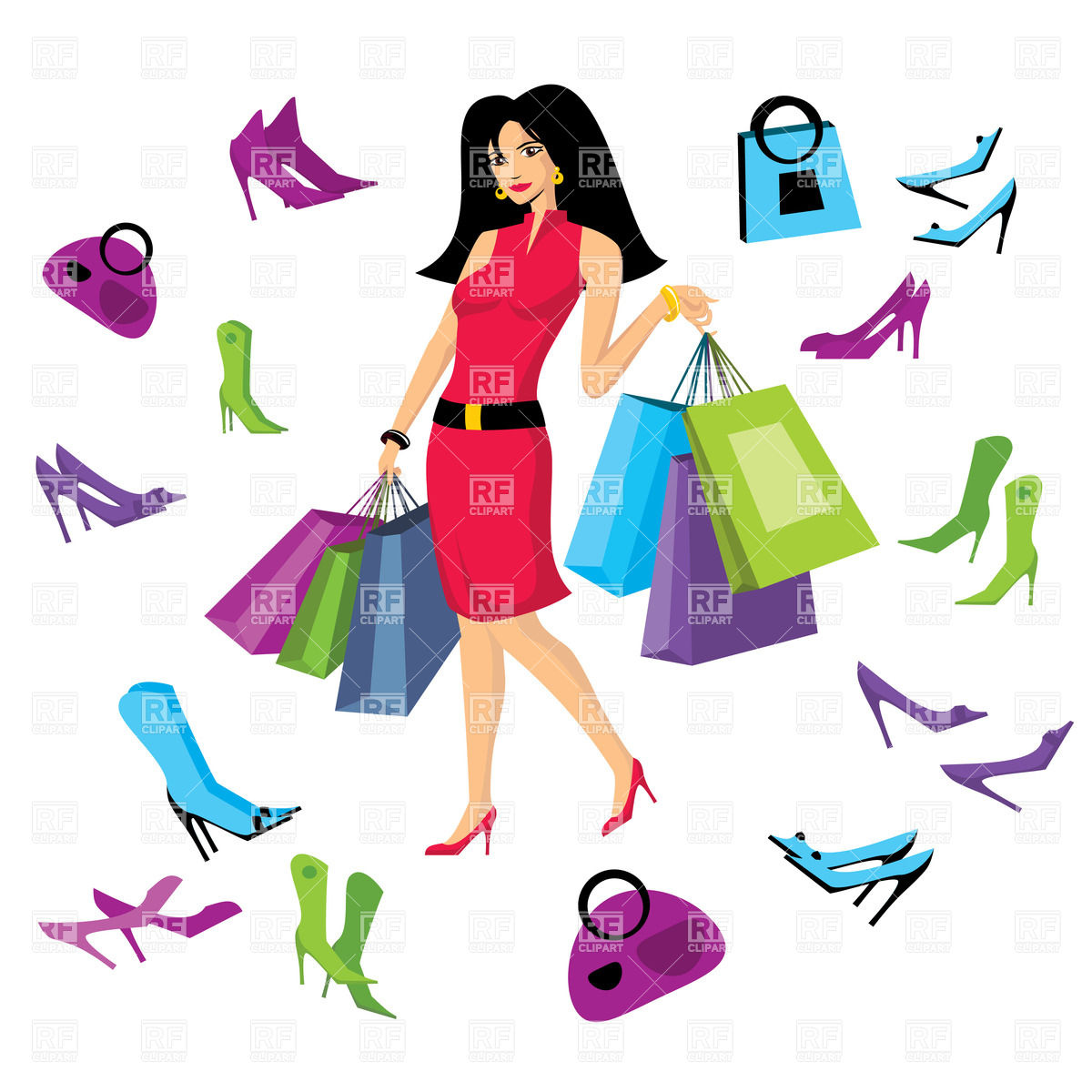 1200x1200 Pretty Woman In Footware Store With Shopping Bags Royalty Free