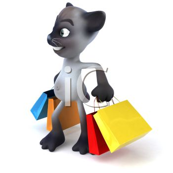 350x350 Royalty Free Clip Art Image 3d Siamese Cat Carrying Shopping Bags