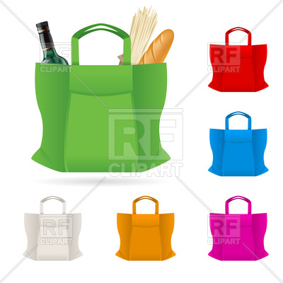 400x400 Set Of Shopping Bag With Foods Illustration On White Royalty Free