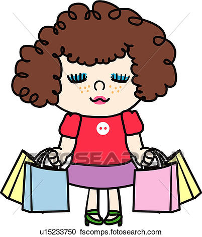 402x470 Clipart Of People, Permanenthair, Freckle, Shopping Bag, Holding