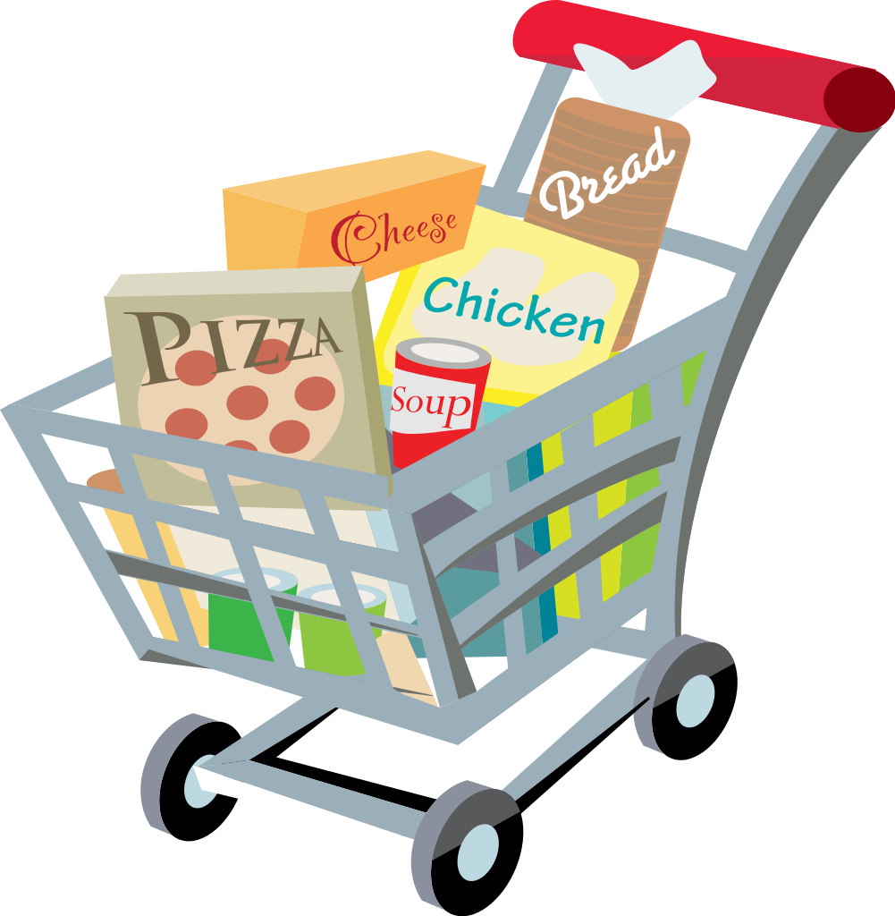 1001x1024 Fileshopping Cart With Food Clip Art 2.svg