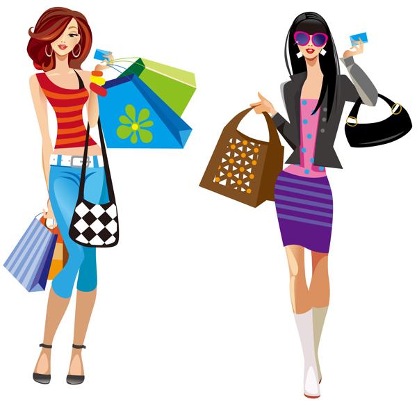 600x597 Girls Shopping Clipart