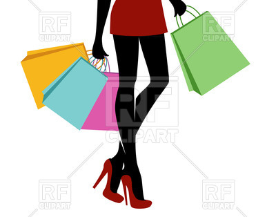 400x314 Shopping Girl With Bags Royalty Free Vector Clip Art Image