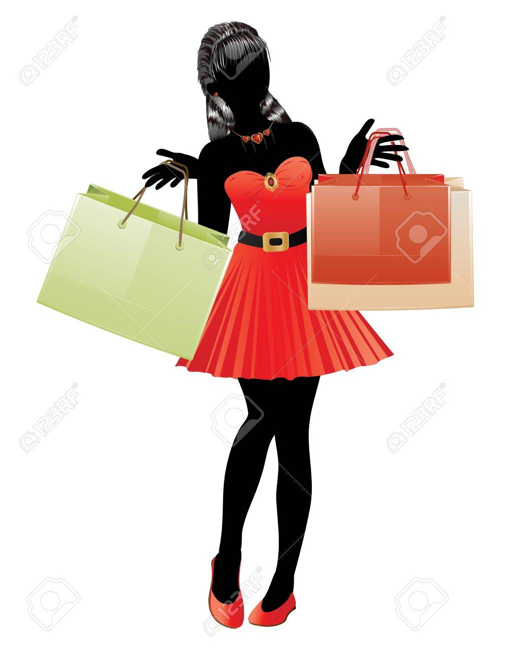 1021x1300 Silhouette Of A Fashion Shopping Girl In Red Dress With Shopping