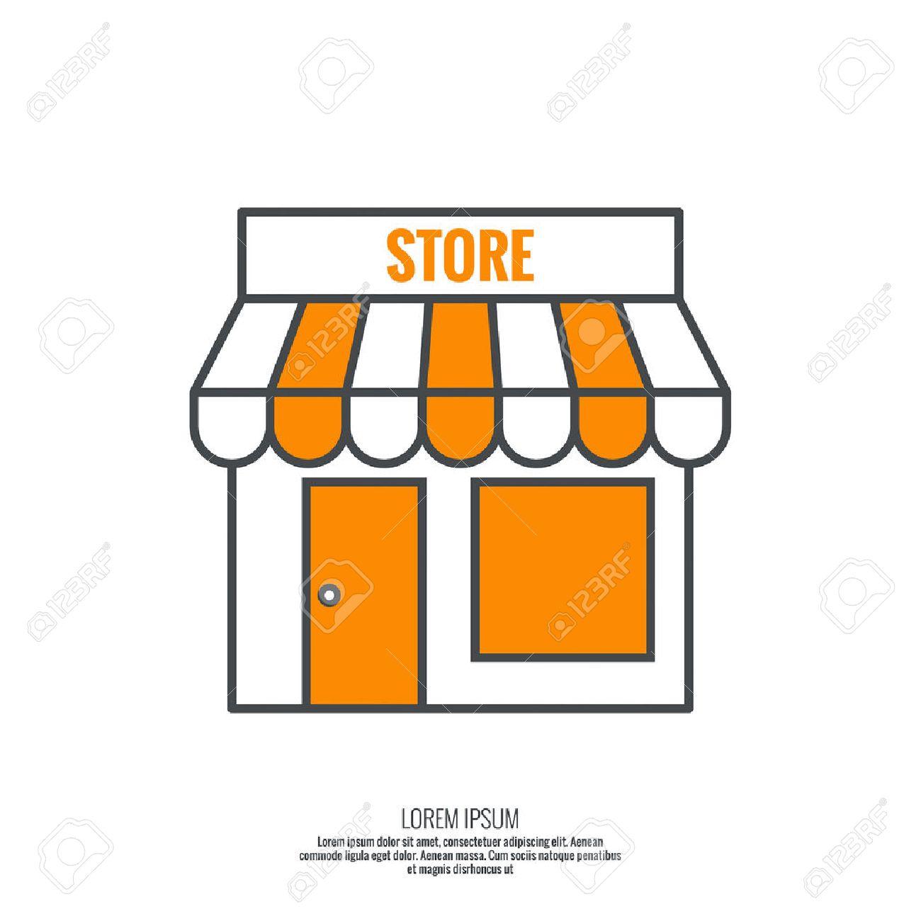 1300x1300 Facade Of Shops, Supermarkets, Marketplace. Pictogram Icon