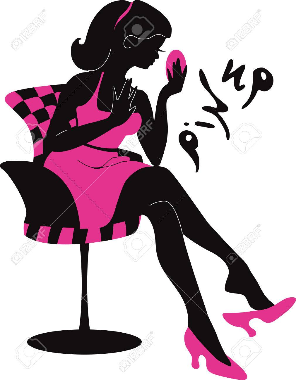 1011x1300 Pin Up Woman Silhouette With Dress. Stylish Vector Illustration