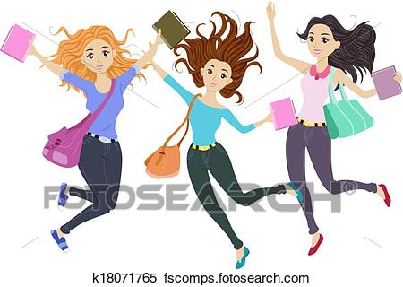 450x320 Clipart Of Students Jump Shot K18071765